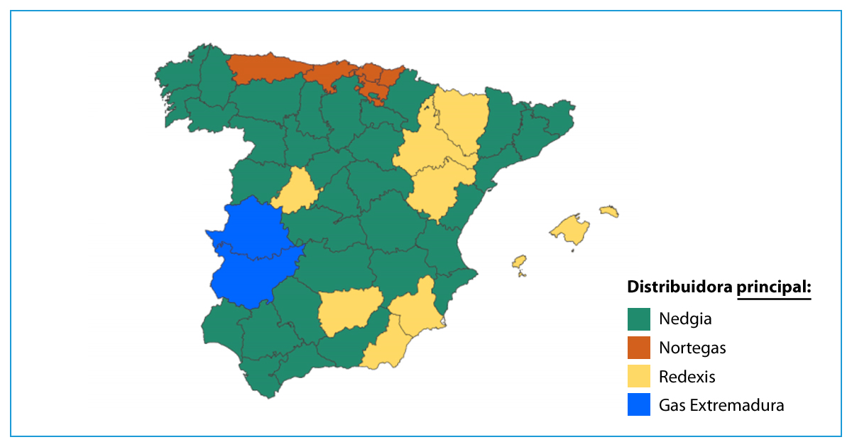 Mapa principales distribuidoras de gas en España