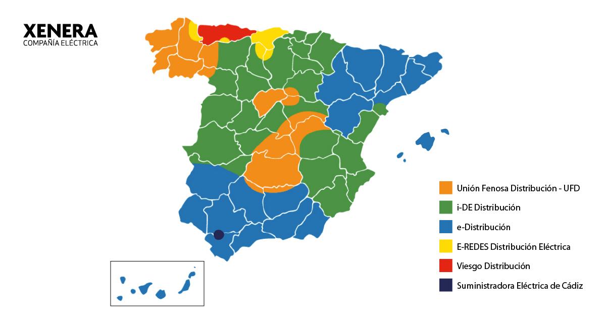 Mapa de las principales distribuidoras de luz en España