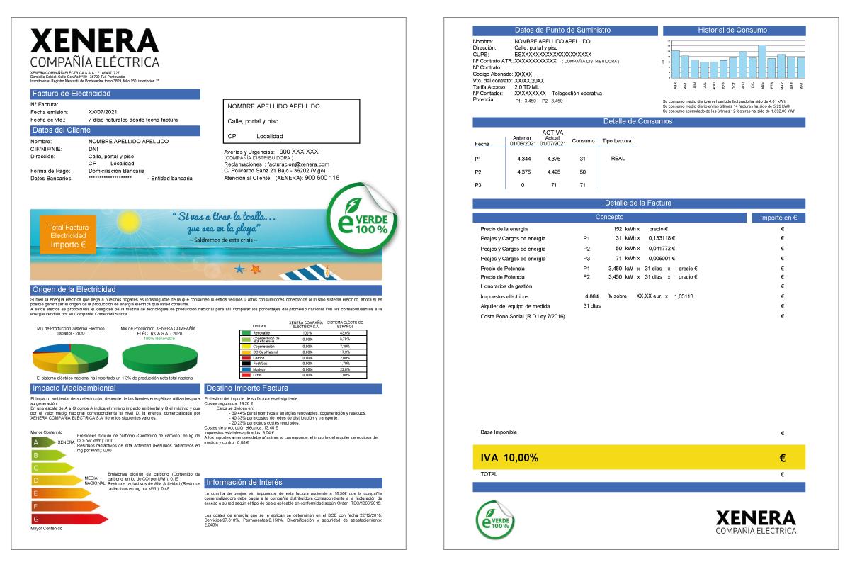 Factura 2.0TD con IVA luz 10%