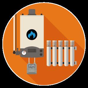 calentador de gas y radiador